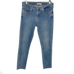 Levi's 711 Skinny Raw Hem Eyelet Detail Jeans